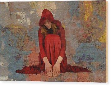 Little Mel Riding Hood Wood Print by Trish Tritz