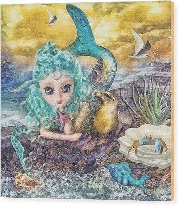 Little Mermaid Wood Print by Mo T