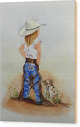 Little Miss Big Britches Wood Print by Jimmy Smith