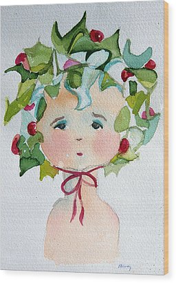 Little Miss Innocent Ivy Wood Print by Mindy Newman