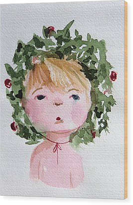 Little Miss Merry Wood Print by Mindy Newman