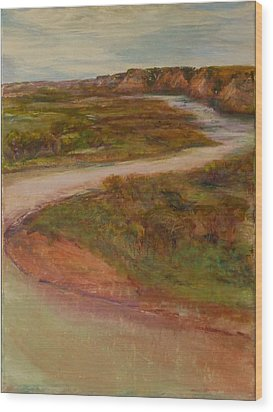 Little Missouri Overlook  Wood Print by Helen Campbell