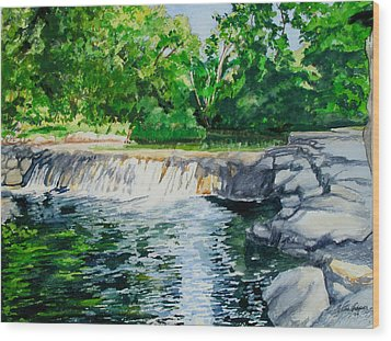 Little Niagra Falls On Travertine Creek Chickasaw National Recreation Area Sulphur Oklahoma Wood Print by Wes Loper