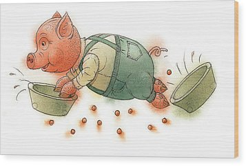 Little Pig Wood Print by Kestutis Kasparavicius