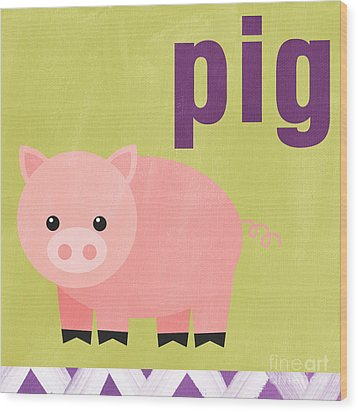 Little Pig Wood Print by Linda Woods