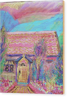 Little Pink House Wood Print by Anne-Elizabeth Whiteway