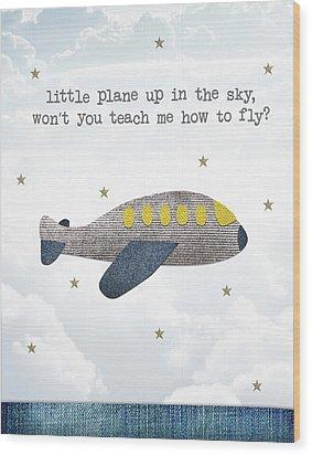 Little Plane Wood Print by Samuel Whitton