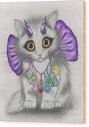 Wood Print featuring the mixed media Little Purple Horns - 1980s Cute Devil Kitten by Carrie Hawks