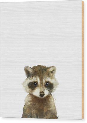 Little Raccoon Wood Print by Amy Hamilton