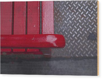 Little Red Bench Wood Print by Henri Irizarri