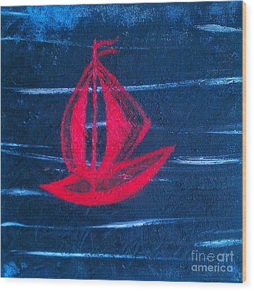 Wood Print featuring the painting Little Red Boat  by Jacqueline McReynolds