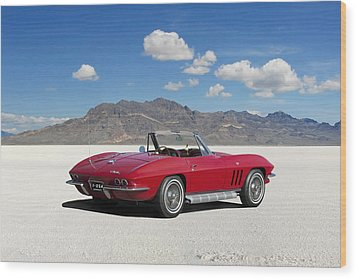 Wood Print featuring the digital art Little Red Corvette by Peter Chilelli