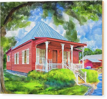 Wood Print featuring the mixed media Little Red Cottage by Mark Tisdale