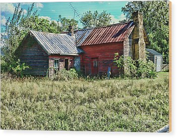 Wood Print featuring the photograph Little Red Farmhouse by Paul Ward