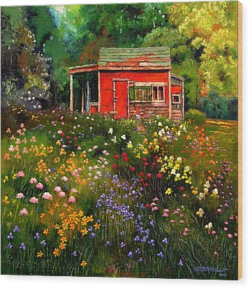Little Red Flower Shed Wood Print by John Lautermilch