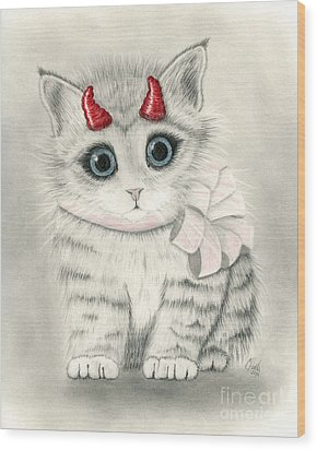 Wood Print featuring the drawing Little Red Horns - Cute Devil Kitten by Carrie Hawks