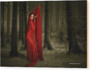 Little Red In Woods Wood Print by Thomas Churchwell