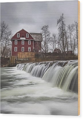 Little Red Mill Wood Print