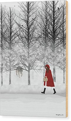 Wood Print featuring the digital art Little Red by Nancy Levan