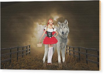 Little Red Riding Hood And The Big Bad Wolf Wood Print