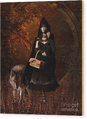 Little Red Riding Hood Gothic Wood Print by Shanina Conway