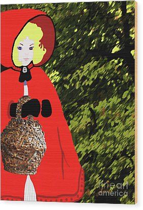 Little Red Riding Hood In The Forest Wood Print by Marian Cates