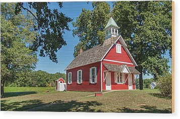 Wood Print featuring the photograph Little Red School House by Charles Kraus
