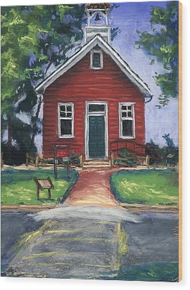 Little Red Schoolhouse Nature Center Wood Print by Christine Camp