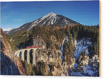 Wood Print featuring the photograph Little Red Train In The Swiss Alps by Peter Thoeny