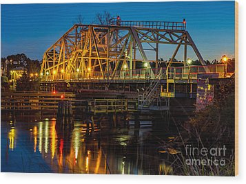 Little River Swing Bridge Wood Print