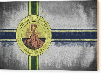 Wood Print featuring the digital art Little Rock City Flag by JC Findley