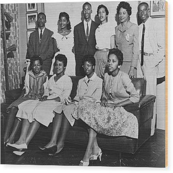 Little Rock Nine And Daisy Bates Posed Wood Print by Everett