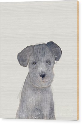 Wood Print featuring the painting Little Schnauzer by Bri B