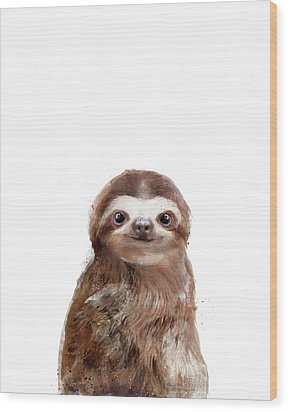 Little Sloth Wood Print by Amy Hamilton