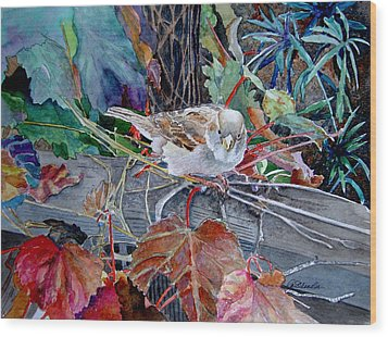 Wood Print featuring the painting Little Sparrow by Gail Chandler