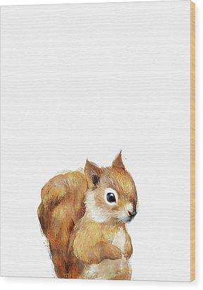 Little Squirrel Wood Print by Amy Hamilton