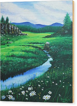 Wood Print featuring the painting Little Stream by Mike Ivey