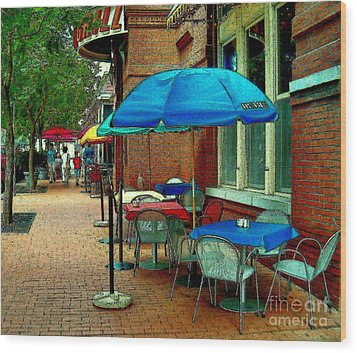 Wood Print featuring the painting Little Street Cafe by Elinor Mavor