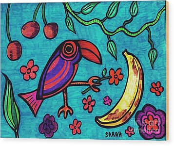 Little Toucan Wood Print by Sarah Loft