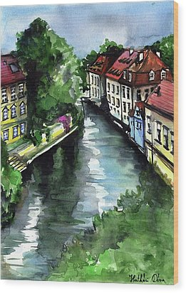 Little Venice In Prague Certovka Canal Wood Print