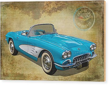 Little Vette Wood Print by Keith Hawley