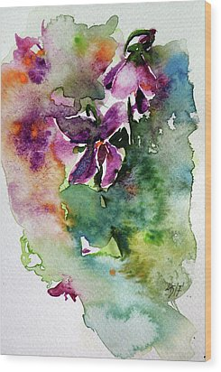 Wood Print featuring the painting Little Violet by Kovacs Anna Brigitta