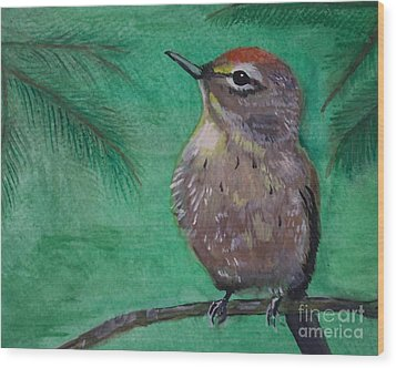 Wood Print featuring the painting Little Warbler by Leslie Allen