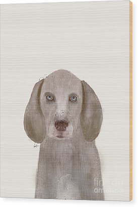 Wood Print featuring the painting little Weimaraner by Bri B