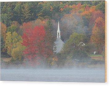 Little White Church Autumn Fog Wood Print by John Burk