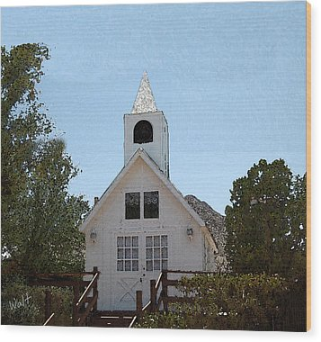 Wood Print featuring the digital art Little White Church by Walter Chamberlain