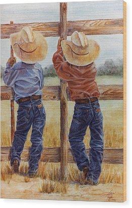 Little Wranglers Wood Print by Ann Peck