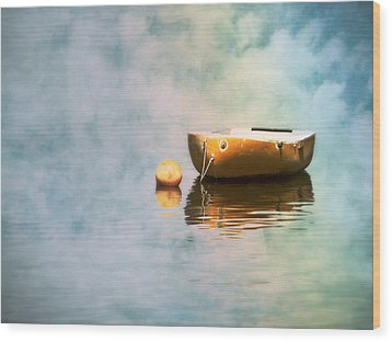 Little Yellow Boat Wood Print