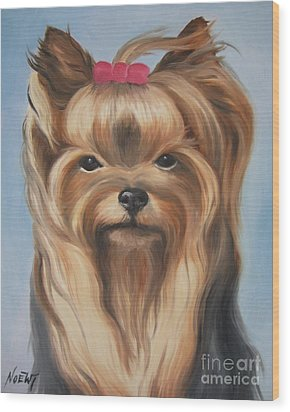 Wood Print featuring the painting Little Yorkshire Princess by Jindra Noewi