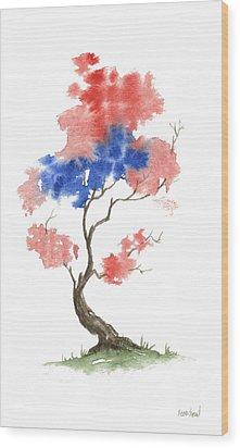 Little Zen Tree 291 Wood Print by Sean Seal